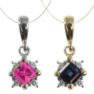 Michael Valitutti 14k Gold Princess-cut Gemstone Diamond Accent Necklace