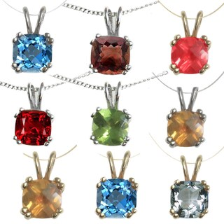 Michael Valitutti 14k Gold Cushion-cut Birthstone Necklace