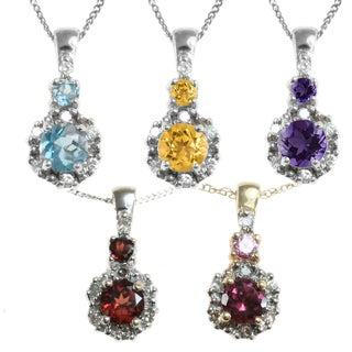 Michael Valitutti 14k Gold Round Gemstone and Diamond Accent Necklace
