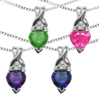 Michael Valitutti 10k White Gold Heart Gemstone Diamond Accent Necklace