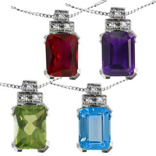 Michael Valitutti 14k White Gold Emerald-cut Gemstone Diamond Accent Necklace (2 options available)