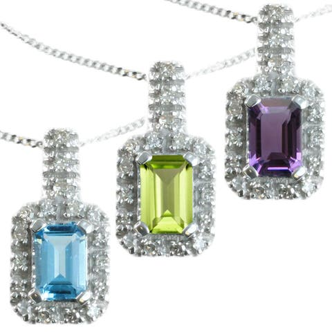 Michael Valitutti 14k White Gold Emerald-cut Gemstone and Diamond Accent Necklace