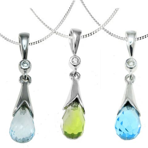 Michael Valitutti 14k White Gold Teardrop Gemstone Diamond Accent Necklace