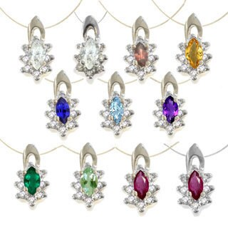 M.V. Jewels Two-tone Gold Birthstone Diamond Accent Necklace