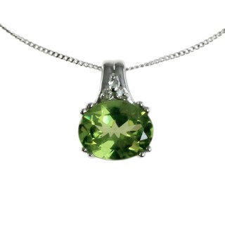 Michael Valitutti 14k White Gold Peridot and Diamond Accent Necklace