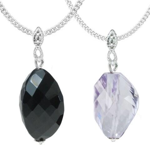 Michael Valitutti 14k White Gold Black Onyx or Rose de France Necklace