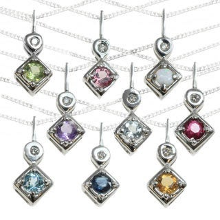 Michael Valitutti 14k White Gold Round Gemstone and Diamond Accent Necklace