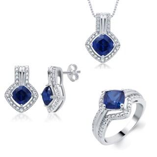 Divina Silvertone Created Sapphire Diamond Accent 3-piece Jewelry Set
