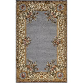 Aubusson Floral Border Hand-tufted Wool Rug (3'6 x 5'6)