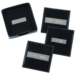 Royce Leather 4 Leather Square Coasters with 2 Inch Engraved Plates