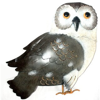 Handmade Iron Grey Owl Wall Decor (Indonesia)