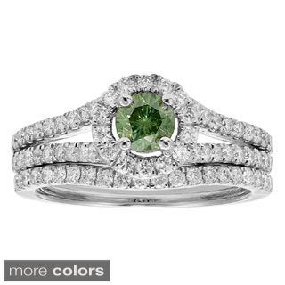 14k White Gold 1ct TDW Red or Green Diamond Bridal Ring Set