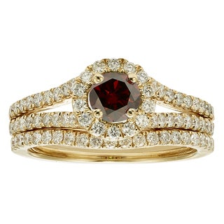 14k White Gold 1ct TDW Red Diamond Bridal Ring Set