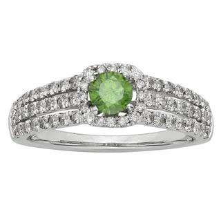 14k White Gold 1ct Red or Green Diamond Ring