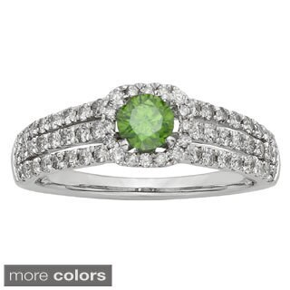 14k White Gold 1ct Red or Green Diamond Ring