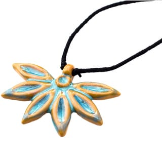 Handmade Ocean Blue Petals Necklace (India)