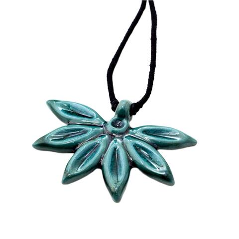 Handmade Aqua Petals Necklace (India)
