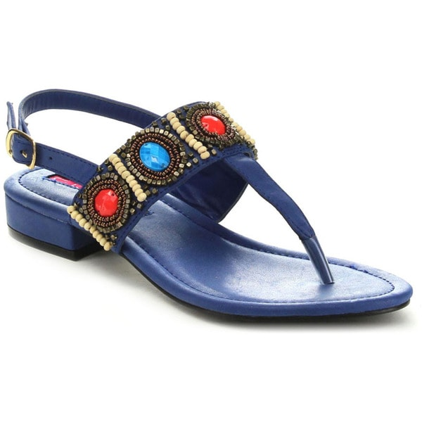 C Label CABANA-10 Women's Slingback Beaded Flat Heel T-Strap Sandals