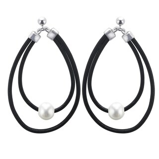 Pearls For You Sterling Silver/ Leather Freshwater Pearl Hoop Earrings (8-9 mm)