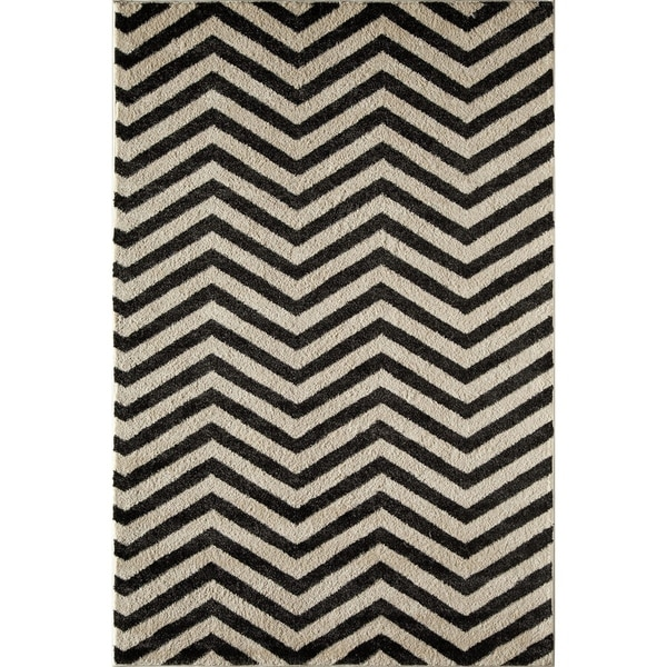 Canyon Black/ Ivory (5' x 8') Rug