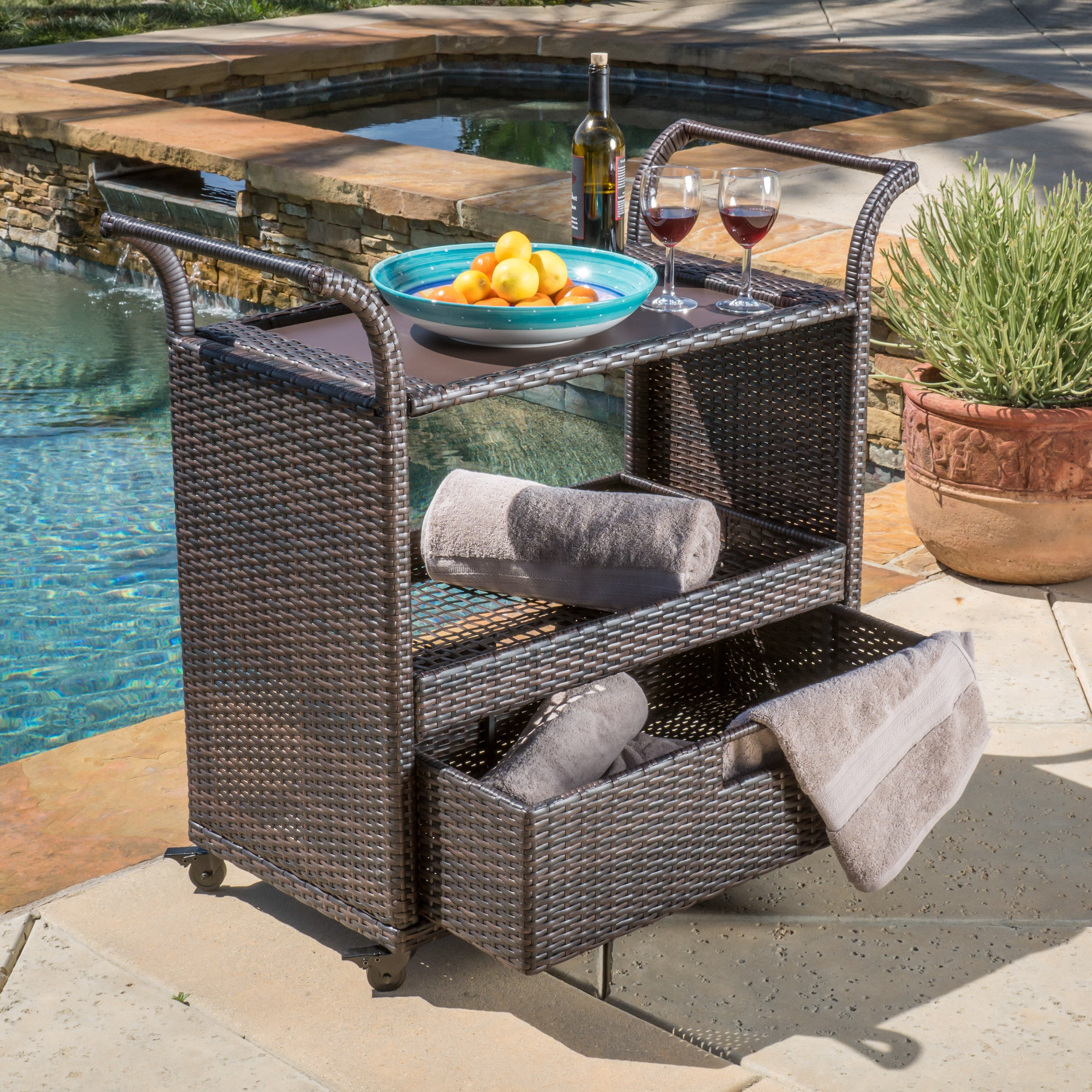 Corona Outdoor Wicker Bar Cart by Christopher Knight Home...