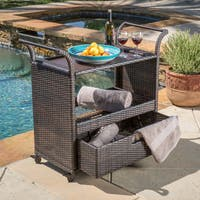 Corona Outdoor Wicker Bar Cart by Christopher Knight Home