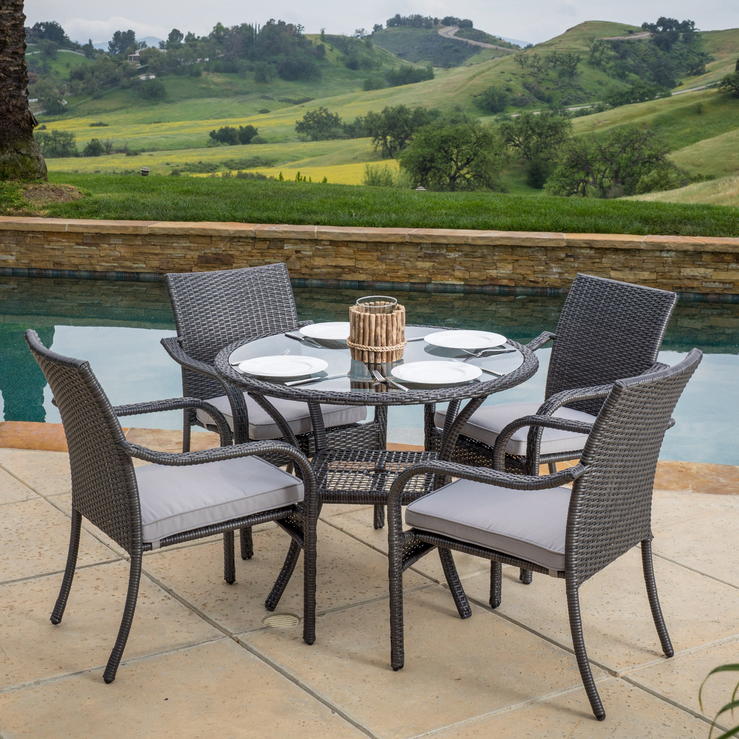 San Pico Outdoor Wicker 5-piece Dining Set with Cushions ...