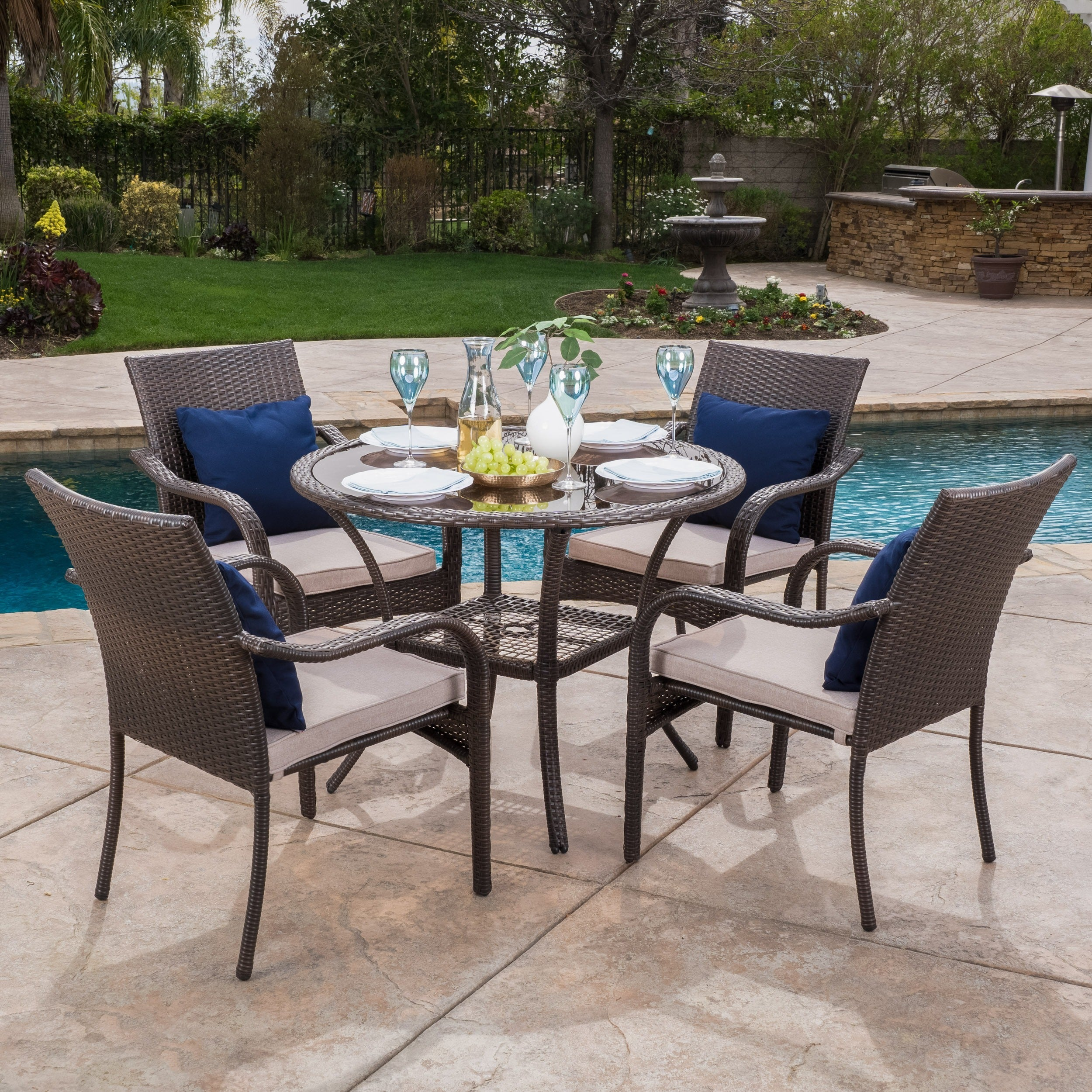 San Pico Outdoor Wicker 5 piece Dining Set with Cushions by