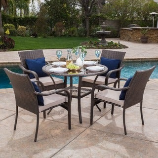 San Pico Outdoor Wicker 5-piece Dining Set with Cushions by Christopher Knight Home