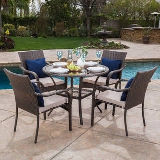 San Pico Outdoor Wicker 5 Piece Dining Set With Cushions By Christopher  Knight Home