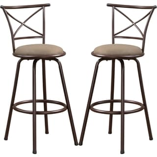 Martin Metal Bar Stool with Upholstered Seat (Set of 2)