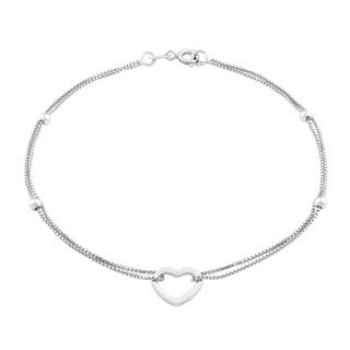 La Preciosa Sterling Silver Double Strand Heart Bracelet