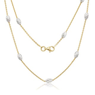 La Preciosa Goldplated Sterling Silver Diamond-cut Oval Moon Bead Chain Necklace