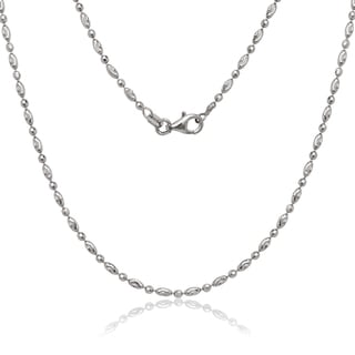 La Preciosa Sterling Silver Alternating Oval and Circle Diamond-cut Moon Bead Chain Necklace