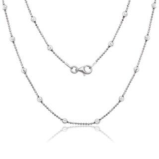La Preciosa Sterling Silver 3.2mm Diamond-cut Moon Bead Chain Necklace
