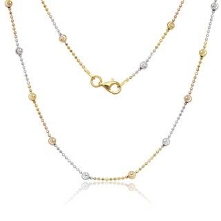 La Preciosa Tri-color Sterling Silver 3.2mm Diamond-cut Moon Bead Chain Necklace
