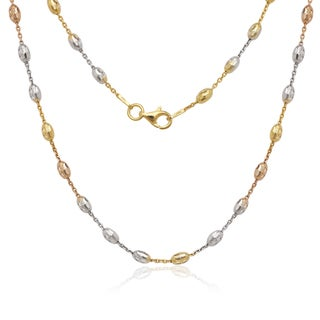 La Preciosa Tri-color Sterling Silver Diamond-cut Oval Moon Bead Chain Necklace