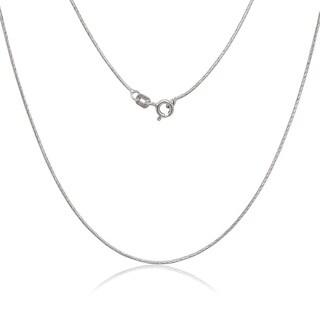 La Preciosa Rhodium-plated Sterling Silver 0.85mm Diamond-cut Snake Chain Necklace