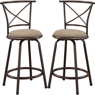 Martin Metal Counter Height Stool with Upholstered Seat (Set of 2)