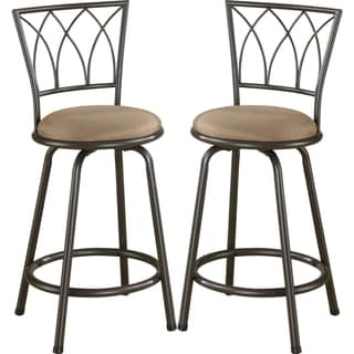 Austin Metal Counter Height Stool With Upholstered Seat (Set of 2)