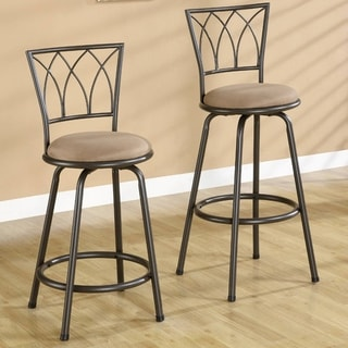 Austin Bronze Metal Stool with Upholstered Seat (Set of 2)