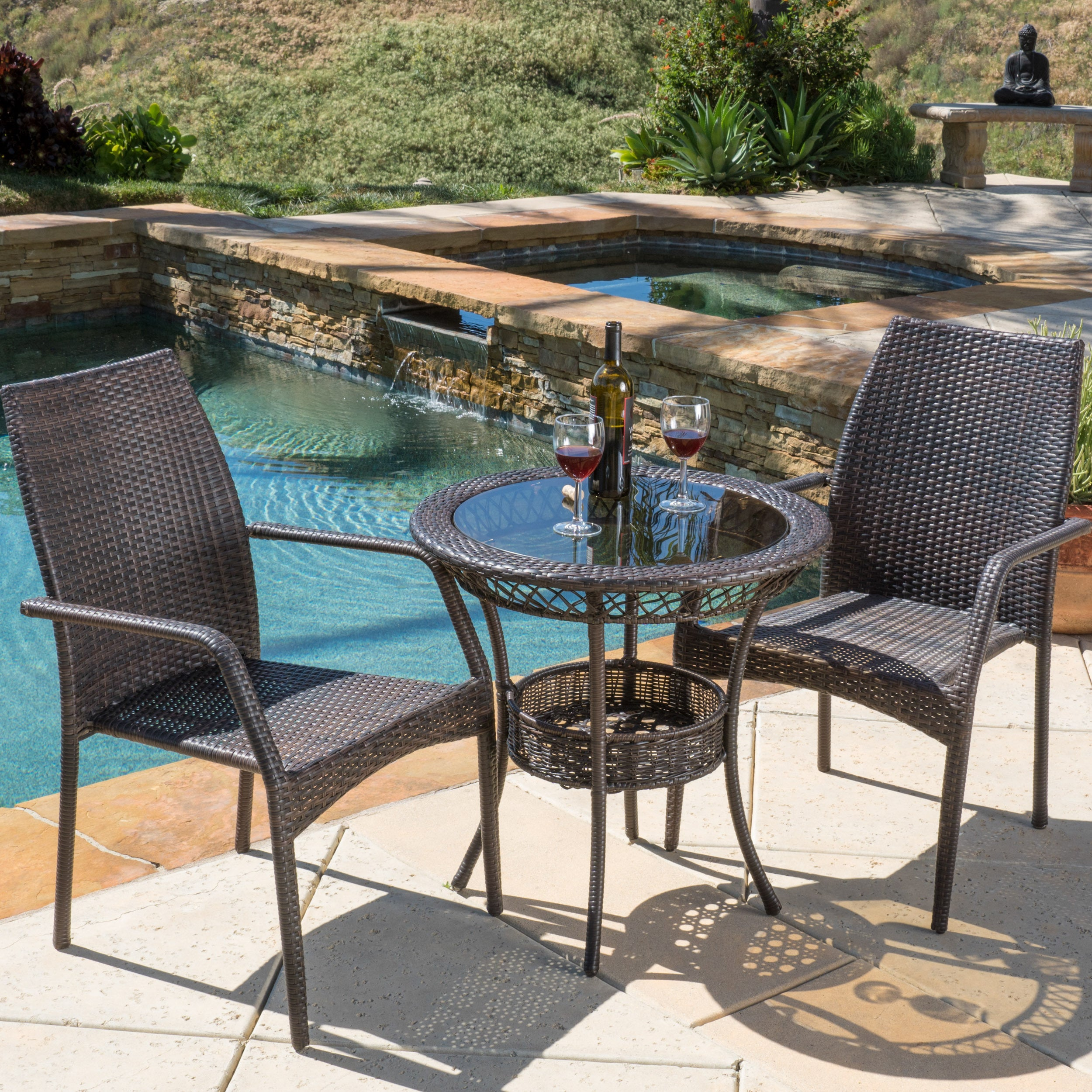 Pleasant Lisbon Outdoor 3 Piece Wicker Bistro Set By Christopher Knight Home Onthecornerstone Fun Painted Chair Ideas Images Onthecornerstoneorg