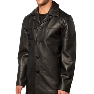 Men's Leather Button Front Car Coat