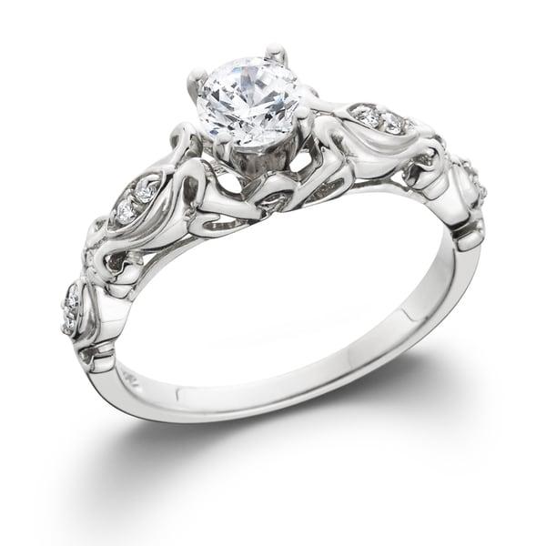 14k White Gold 1/2 ct TDW Vintage Diamond Engagement Ring