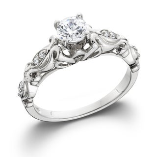 14k White Gold 1/2 ct TDW Vintage Diamond Engagement Ring