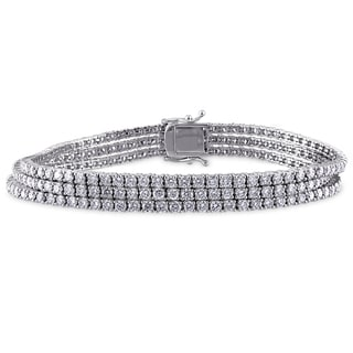 Miadora Signature Collection 18k White Gold 7 5/8ct TDW Diamond Bracelet (G-H, SI1-I2)