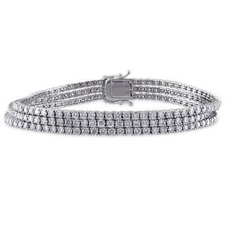Miadora Signature Collection 18k White Gold 7 5/8ct TDW Diamond Bracelet