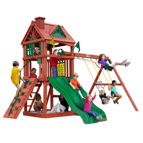 Gorilla Playsets Double Down Wooden Swing Set with 2 Slides - Redwood