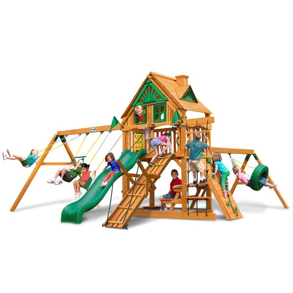 Gorilla Playsets Frontier Treehouse Swing Set with Amber Posts