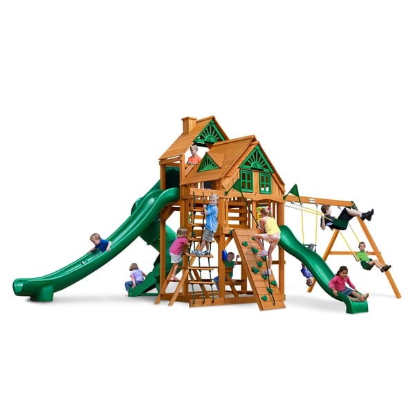 Gorilla Playsets Great Skye II Treehouse Cedar Swing Set with Natural Cedar Posts